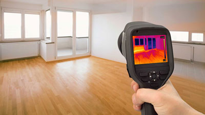 Thermal imaging for non-intrusive leak detection.
