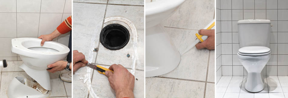 Curtis Plumbing replacing a broken toilet in a Riverview, FL home.